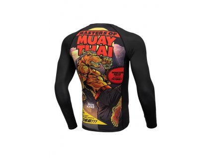 PitBull West Coast Rashguard tričko pánske s dlhým rukávom Performance Pro Plus MASTER OF MUAY THAI black