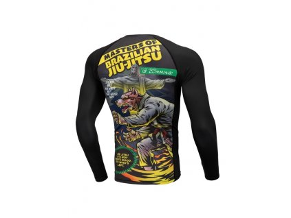 PitBull West Coast Rashguard tričko pánske s dlhým rukávom Performance Pro Plus MASTER OF BJJ black