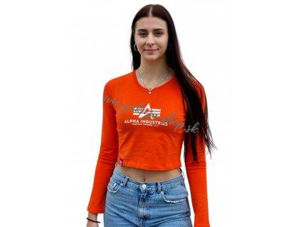 Alpha Industries Basic Cropped LS Wmn dámske tričko s dlhým rukávom atomic red