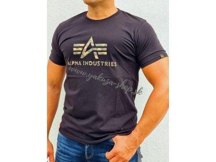 Alpha Industries 3D CAMO LOGO T tričko pánske black woodl camo