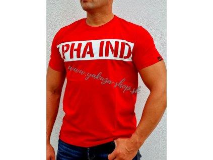 Alpha Industries Printed Stripe T speed red tričko pánske