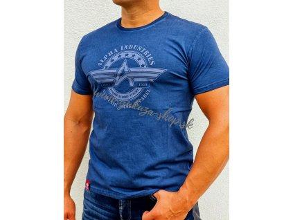Alpha Industries AI Olidye T tričko pánske rep blue