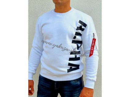 Alpha Industries SIDE PRINT Sweater white pánska mikina