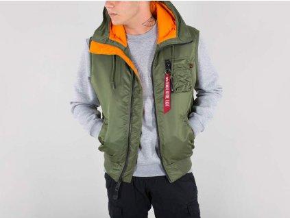 Alpha Industries vesta Hooded MA-1 Vest Sage Green