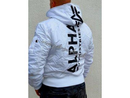 Alpha Industries zimná bunda MA 1 ZH BACK PRINT white black a