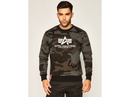 Alpha Industries mikina Basic Sweater olive camo