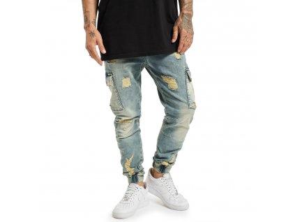 Yakuza jeansy pánske KOKOMA JEB 18079 mid blue vintage destroyed