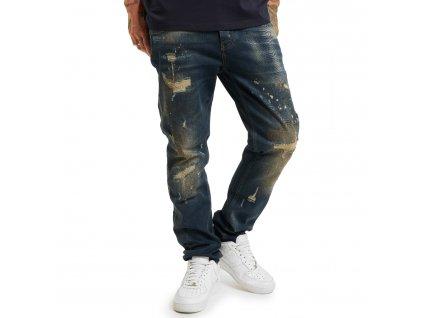 Yakuza jeansy pánske 420 STRAIGHT JEANS JEB 17056 blue gold painted