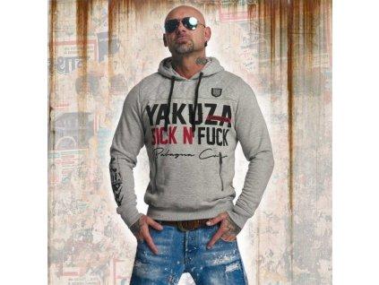 Yakuza SICK N FUCK mikina pánska HOB 11003 light grey melange