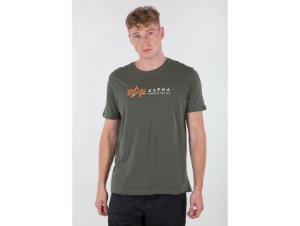 Alpha Industries LABEL T foil print tričko pánske dark olive/gold