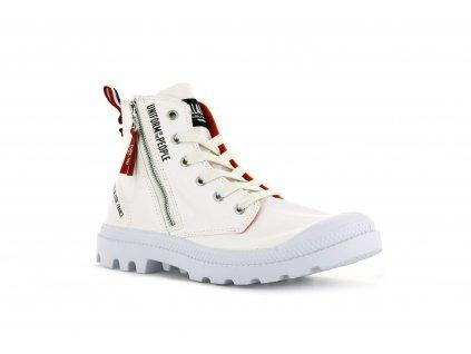 Palladium módne topánky PAMPA HI OUTZIP UNIFORM OF THE PEOPLE STAR WHITE a