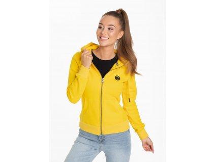 PitBull West Coast dámská mikina na zips SMALL LOGO yellow s kapucňou