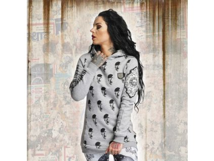 Yakuza ALLOVER SKULL dámska mikina GHOB 11108 light grey melange