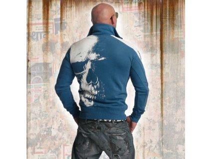 Yakuza SKULL TRACK TOP mikina na zips ZB 11021 mallard blue A