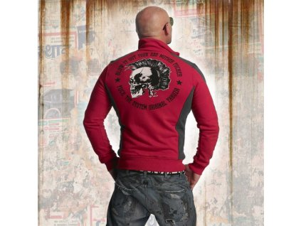 Yakuza PUNX TWO FACE TRACK TOP mikina na zips ZB 11020 ribbon red