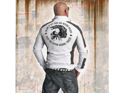 Yakuza PUNX TWO FACE TRACK TOP mikina na zips ZB 11020 white