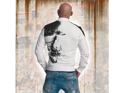 Yakuza SKULL TRACK TOP mikina na zips ZB 11021 white