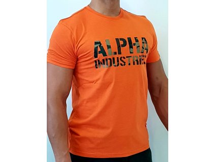 Alpha Industries Camo Print T Flame Orange tričko pánske
