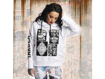 Yakuza dámska mikina PATCHWORK MESH GHOB 11102 white