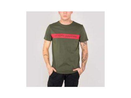 Alpha Industries Red Stripe T dark green tričko pánske