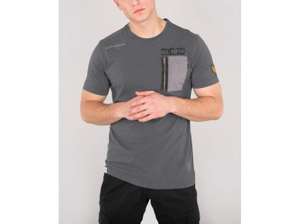 Alpha Industries Utility Pocket T greyblack tričko pánske