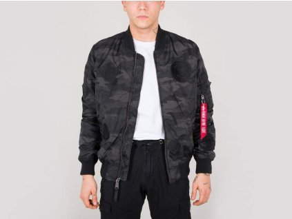 Alpha Industries MA-1 TT Patch II black camo bunda prechodná