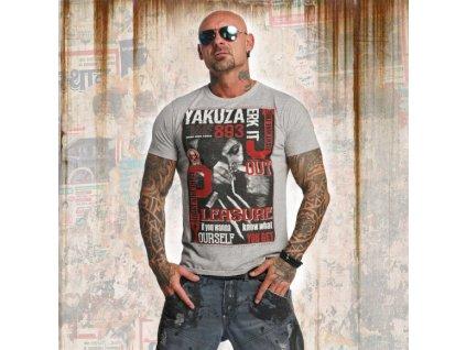 Yakuza tričko pánske JERK IT OUT TSB 11048 light grey melange