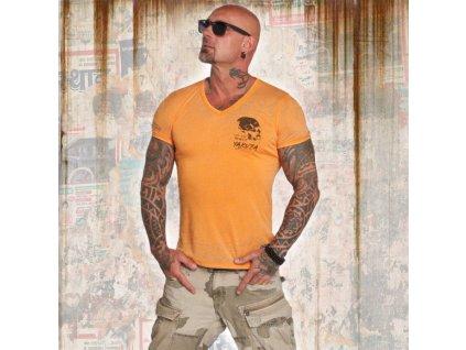 Yakuza tričko pánske BURNOUT V NECK TSB 12059 bright marigold