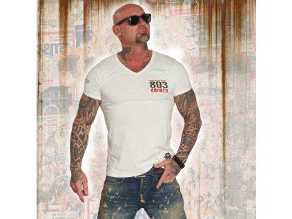 Yakuza tričko pánske DAILY V NECK TSB 12060 snow white