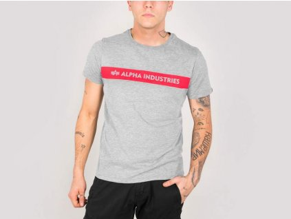 Alpha Industries Red Stripe T grey tričko pánske