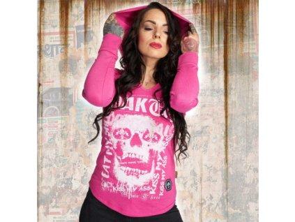 Yakuza SKULL dámske tričko s dlhým rukávom GLSB 12121 fuchsia rose