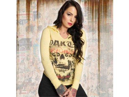 Yakuza SKULL dámske tričko s dlhým rukávom GLSB 12121 pale banana
