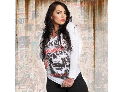 Yakuza SKULL dámske tričko s dlhým rukávom GLSB 12121 white