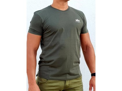 Alpha Industries Basic T Small logo Dark Olive tričko pánske