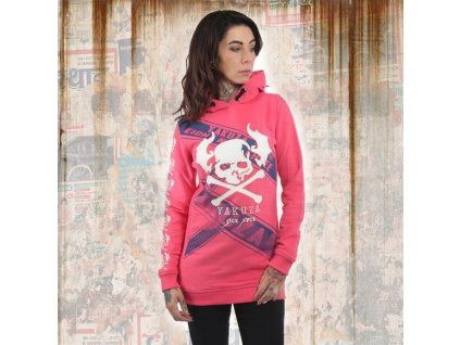 Yakuza dámska mikina FLYING SKULL LONG FLEX GHOB 13107 camelia rose