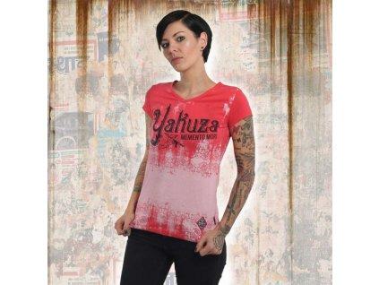 Yakuza GRADIENT V NECK dámske tričko GSB 13156 geranium