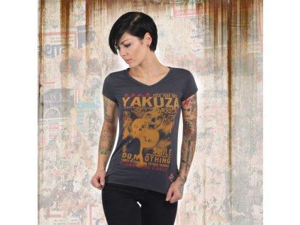 Yakuza BURRIED V NECK dámske tričko GSB 13127 ebony