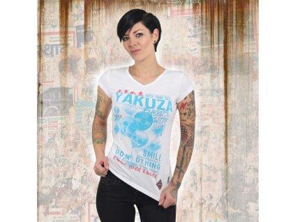 Yakuza BURRIED V NECK dámske tričko GSB 13127 white