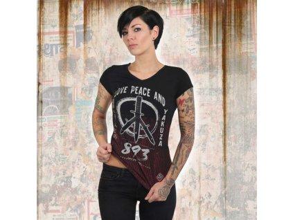 Yakuza LOVE & PEACE V NECK dámske tričko GSB 13131 black