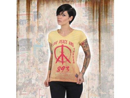 Yakuza LOVE & PEACE V NECK dámske tričko GSB 13131 banana cream