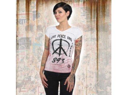 Yakuza LOVE & PEACE V NECK dámske tričko GSB 13131 white