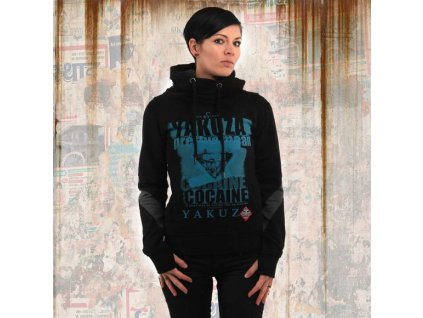 Yakuza COCAINE TWO FACE CROSS NECK HOODIE dámska mikina GHOB 13103 black