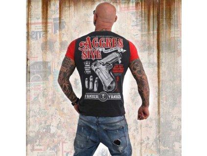 Yakuza AGGRESSIVE TWO FACE tričko pánske TSB 13040 dark shadow