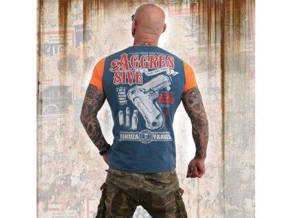 Yakuza AGGRESSIVE TWO FACE tričko pánske TSB 13040 mallard blue