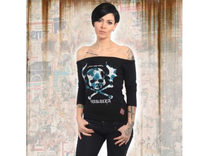 Yakuza FLYING SKULL OFF SHOULDER dámske tričko s dlhým rukávom GLSB 13139 black