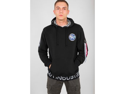 Alpha Industries Moon Landing Hoody pánska mikina black