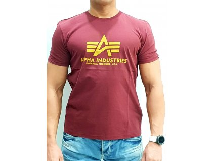 Alpha Industries Basic T-Shirt Burgundy tričko pánske