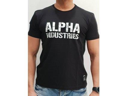 Alpha Industries Camo Print T Black/White tričko pánske