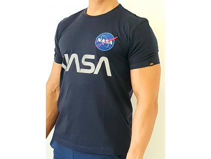 Alpha Industries NASA Reflective T rep blue tričko pánske​​​​​​​