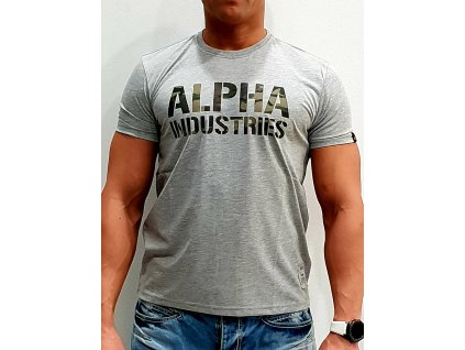 Alpha Industries Camo Print T Grey/wooland tričko pánske